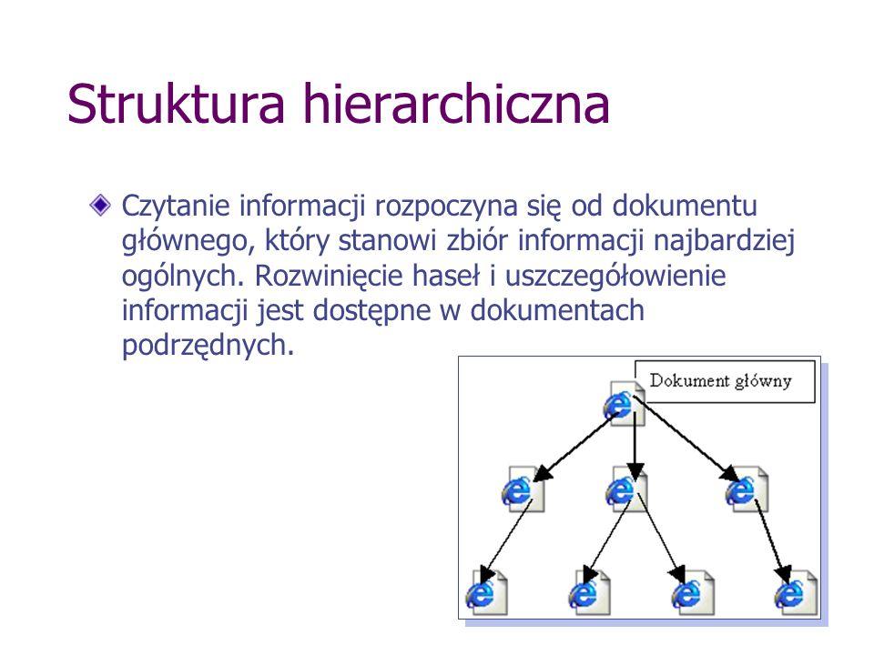 Struktura hierarchiczna Czytanie informacji rozpoczyna się od dokumentu głównego, który stanowi zbiór informacji najbardziej ogólnych. Rozwinięcie has
