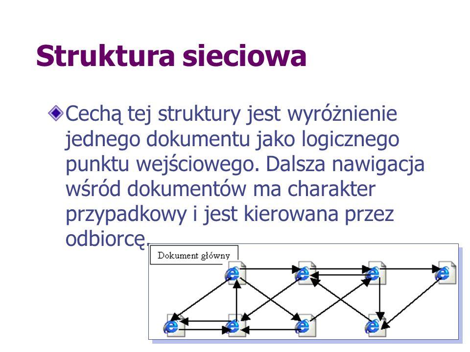 Struktura sieciowa Cechą tej struktury jest wyróżnienie jednego dokumentu jako logicznego punktu wejściowego. Dalsza nawigacja wśród dokumentów ma cha
