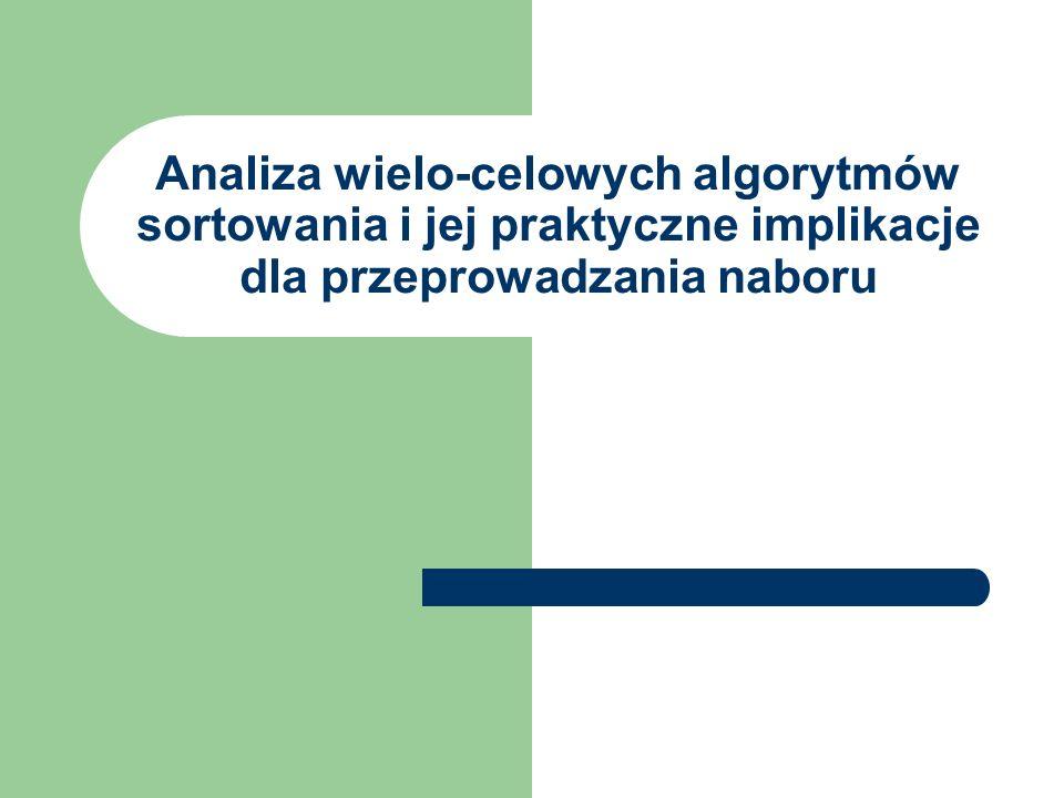 Analiza wielo-celowych algorytmów sortowania i jej praktyczne implikacje dla przeprowadzania naboru