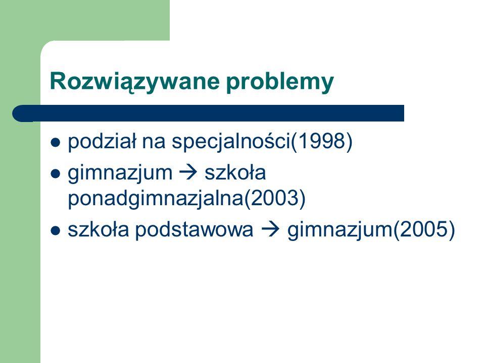 Rozwiązywane problemy podział na specjalności(1998) gimnazjum szkoła ponadgimnazjalna(2003) szkoła podstawowa gimnazjum(2005)