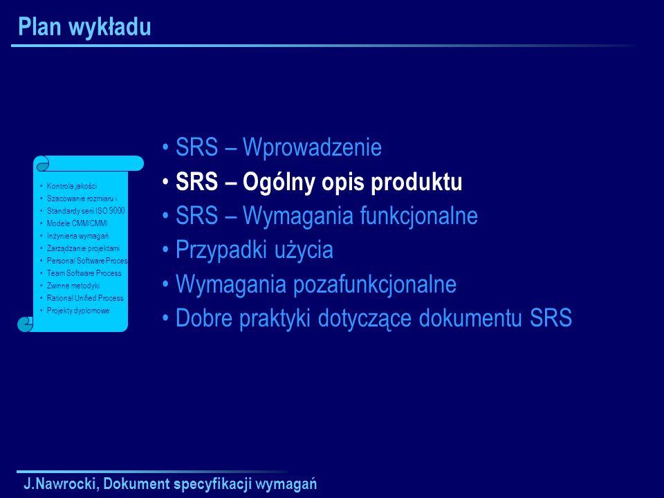 J.Nawrocki, Dokument specyfikacji wymagań Plan wykładu SRS – Wprowadzenie SRS – Ogólny opis produktu SRS – Wymagania funkcjonalne Przypadki użycia Wym