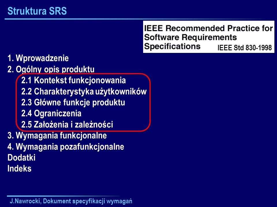 J.Nawrocki, Dokument specyfikacji wymagań Struktura SRS 1. Wprowadzenie 2. Ogólny opis produktu 2.1 Kontekst funkcjonowania 2.2 Charakterystyka użytko