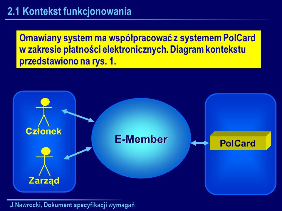 J.Nawrocki, Dokument specyfikacji wymagań 2.1 Kontekst funkcjonowania Omawiany system ma współpracować z systemem PolCard w zakresie płatności elektro