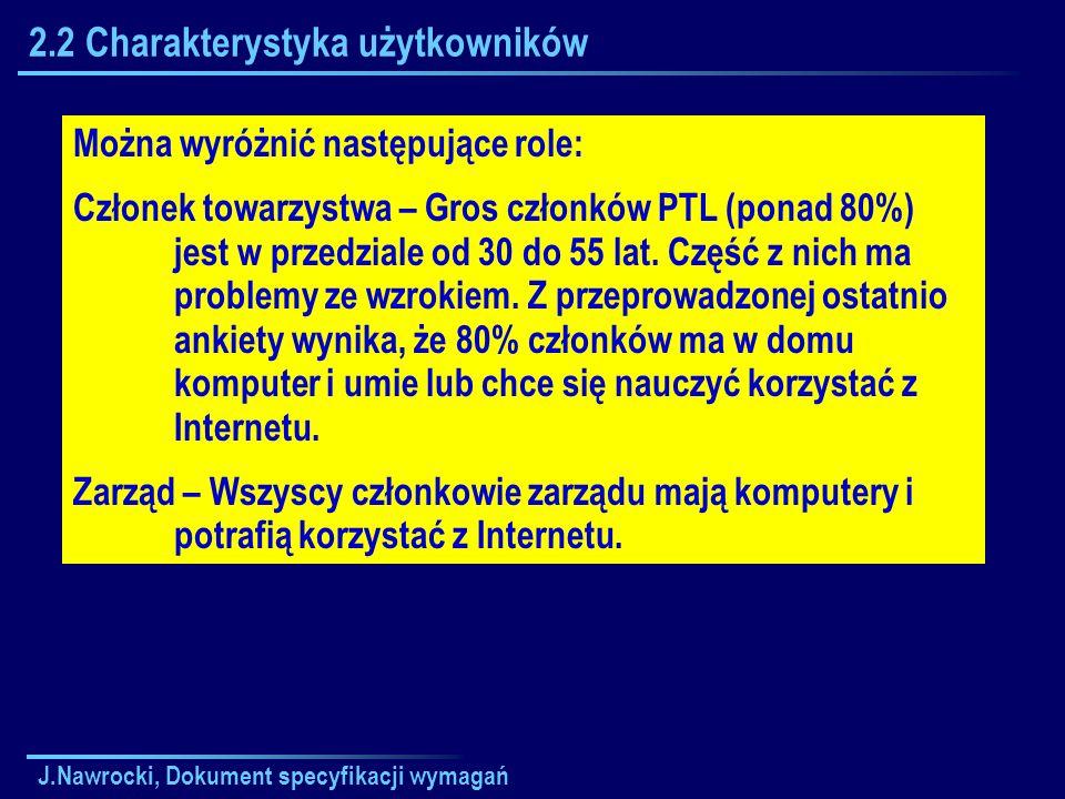 J.Nawrocki, Dokument specyfikacji wymagań 2.2 Charakterystyka użytkowników Można wyróżnić następujące role: Członek towarzystwa – Gros członków PTL (p