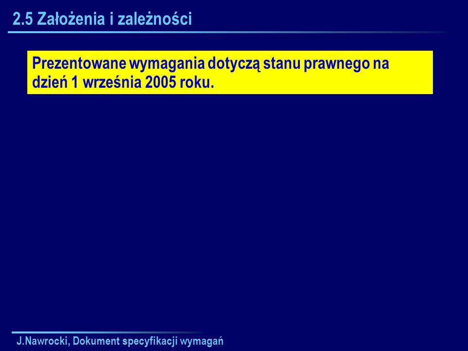 J.Nawrocki, Dokument specyfikacji wymagań 2.5 Założenia i zależności Prezentowane wymagania dotyczą stanu prawnego na dzień 1 września 2005 roku.