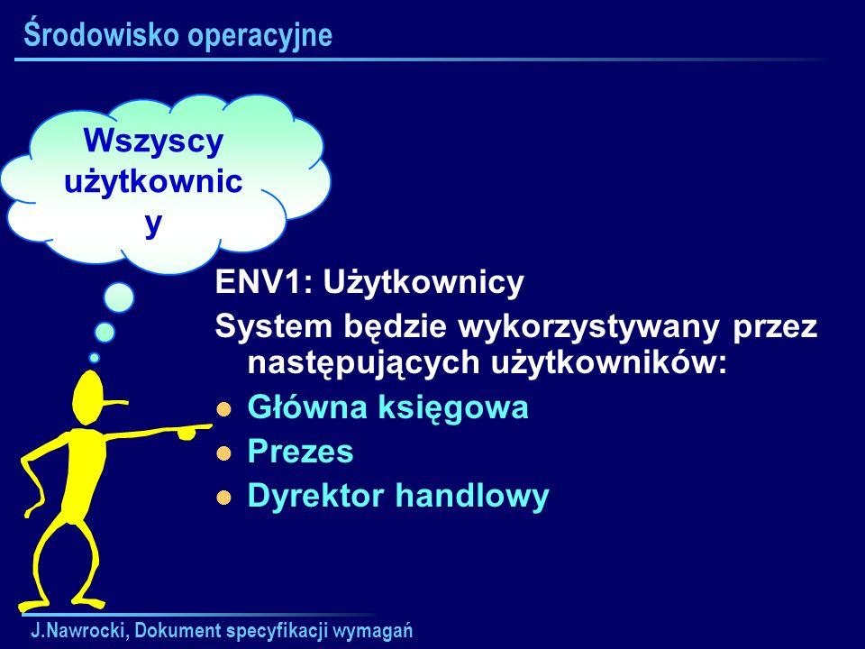 J.Nawrocki, Dokument specyfikacji wymagań Środowisko operacyjne ENV1: Użytkownicy System będzie wykorzystywany przez następujących użytkowników: Główn