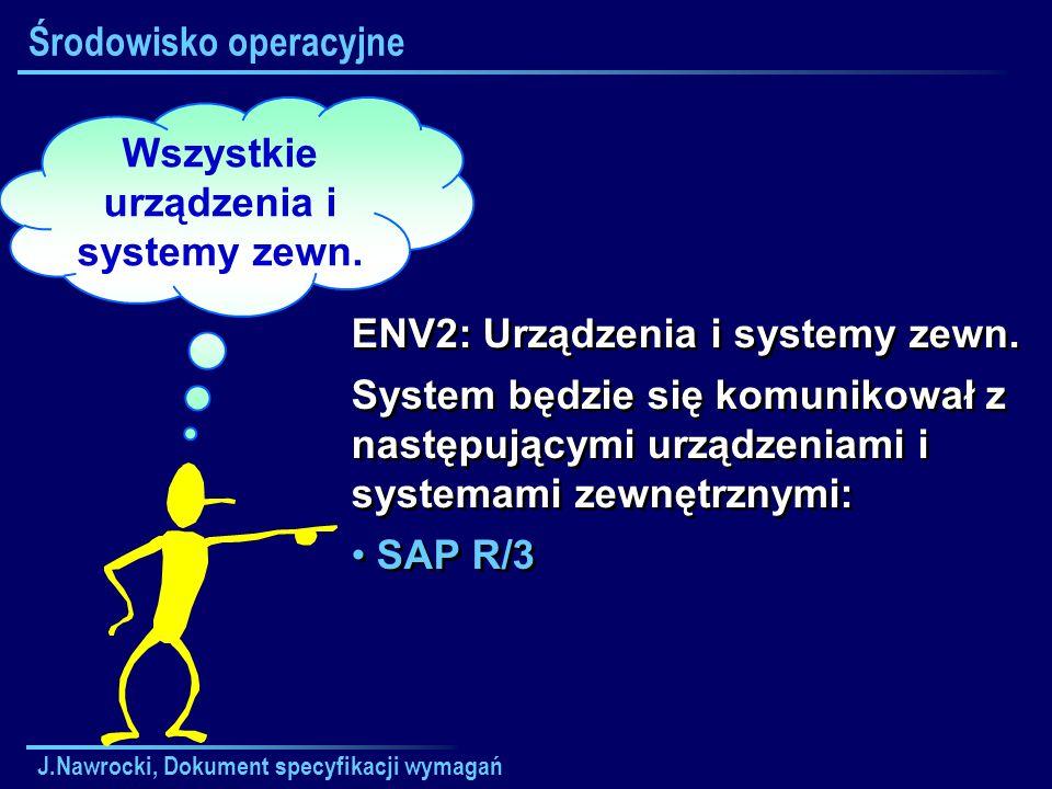 J.Nawrocki, Dokument specyfikacji wymagań Wszystkie urządzenia i systemy zewn. Środowisko operacyjne ENV2: Urządzenia i systemy zewn. System będzie si