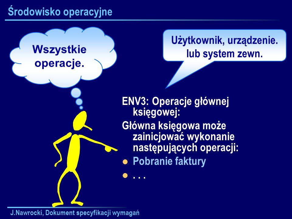 J.Nawrocki, Dokument specyfikacji wymagań Środowisko operacyjne ENV3: Operacje głównej księgowej: Główna księgowa może zainicjować wykonanie następują