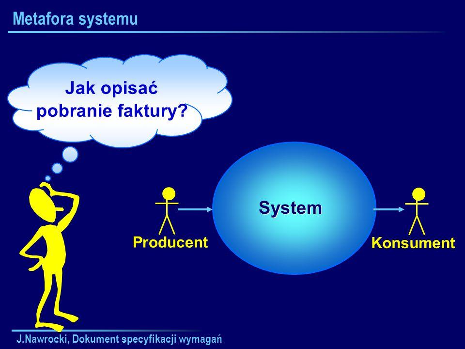 J.Nawrocki, Dokument specyfikacji wymagań Metafora systemu Jak opisać pobranie faktury? Producent Konsument System