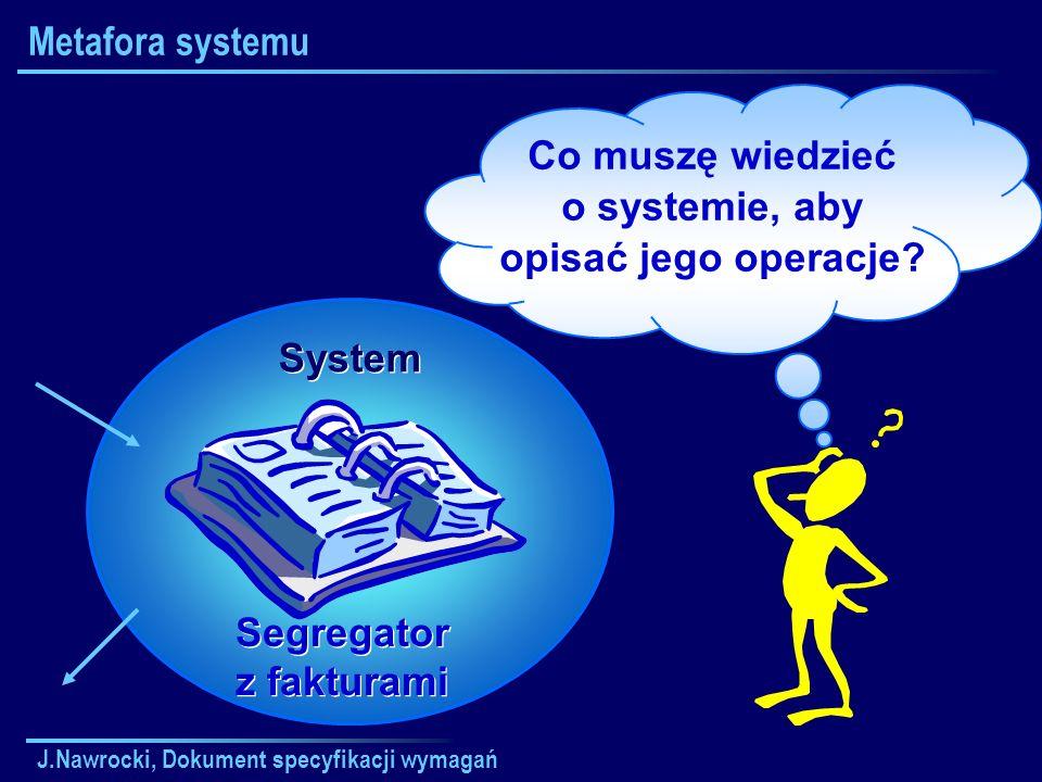 J.Nawrocki, Dokument specyfikacji wymagań Metafora systemu Co muszę wiedzieć o systemie, aby opisać jego operacje? Segregator z fakturami System