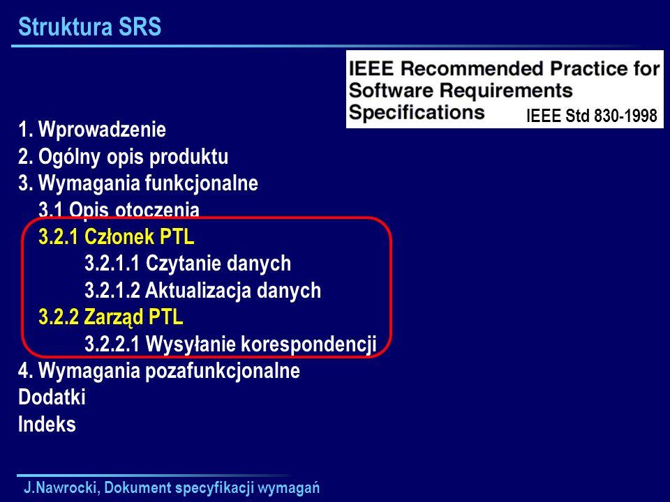 J.Nawrocki, Dokument specyfikacji wymagań Struktura SRS 1. Wprowadzenie 2. Ogólny opis produktu 3. Wymagania funkcjonalne 3.1 Opis otoczenia 3.2.1 Czł