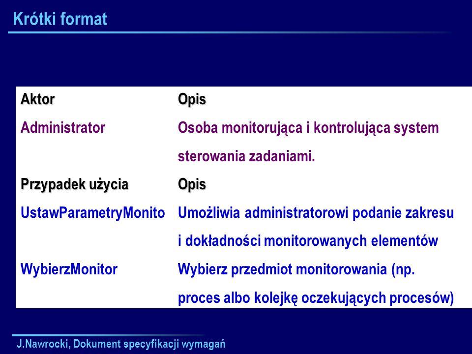 J.Nawrocki, Dokument specyfikacji wymagań Krótki formatAktor Administrator Przypadek użycia UstawParametryMonito WybierzMonitorOpis Osoba monitorująca