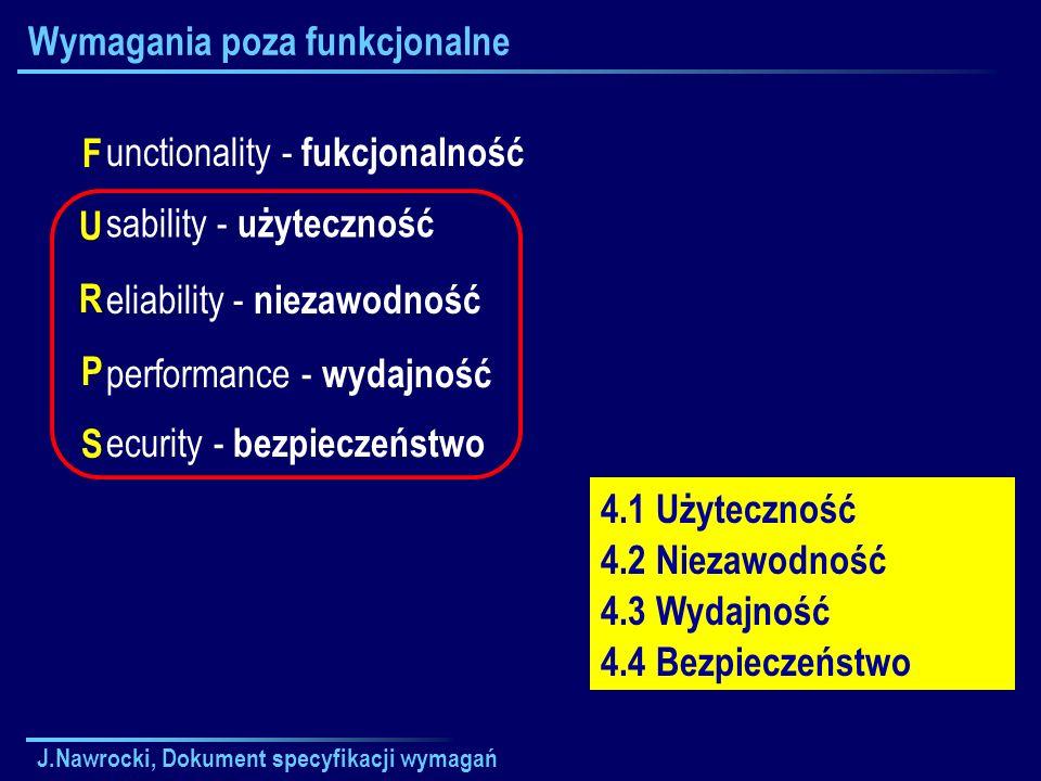 J.Nawrocki, Dokument specyfikacji wymagań Wymagania poza funkcjonalne FURPSFURPS unctionality - fukcjonalność sability - użyteczność eliability - niez