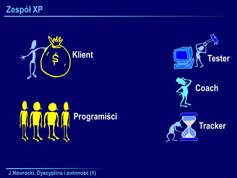 J.Nawrocki, Dyscyplina i zwinność (1) Zespół XP Klient Coach Tracker Tester Programiści