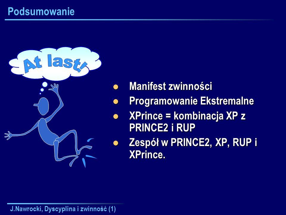 J.Nawrocki, Dyscyplina i zwinność (1) Podsumowanie Manifest zwinności Manifest zwinności Programowanie Ekstremalne Programowanie Ekstremalne XPrince =