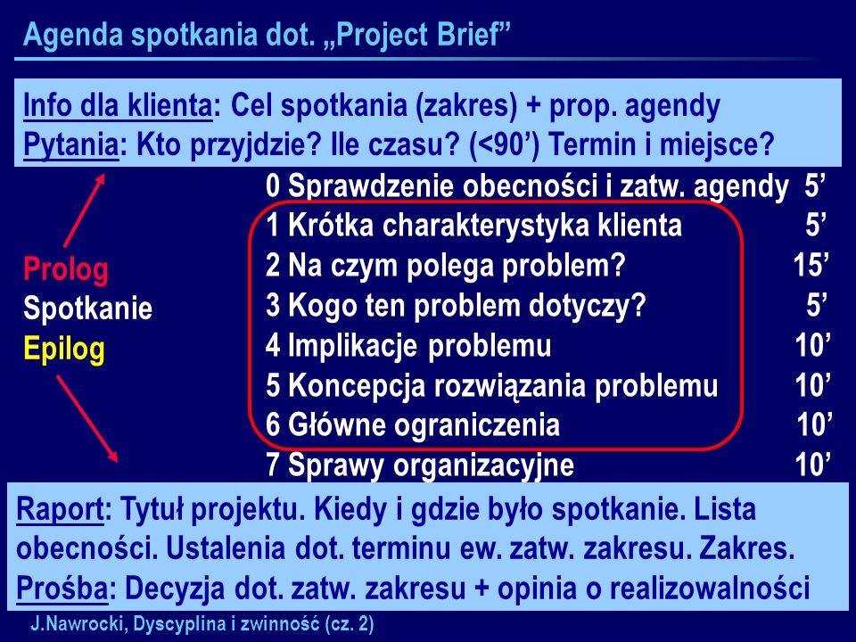 J.Nawrocki, Dyscyplina i zwinność (cz. 2) Agenda spotkania dot. Project Brief Prolog Spotkanie Epilog 0 Sprawdzenie obecności i zatw. agendy 5 1 Krótk