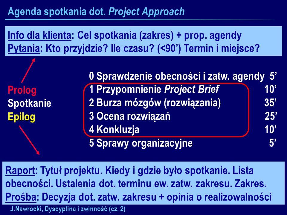 J.Nawrocki, Dyscyplina i zwinność (cz. 2) Agenda spotkania dot. Project Approach Prolog Spotkanie Epilog 0 Sprawdzenie obecności i zatw. agendy 5 1 Pr