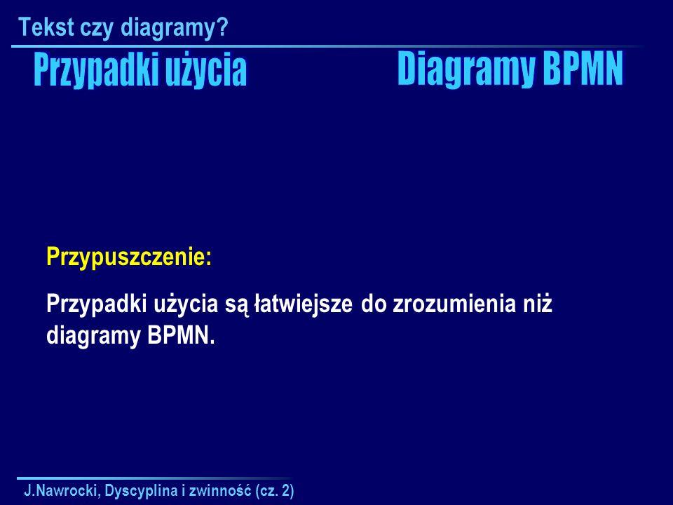 J.Nawrocki, Dyscyplina i zwinność (cz. 2) Tekst czy diagramy? Przypuszczenie: Przypadki użycia są łatwiejsze do zrozumienia niż diagramy BPMN.