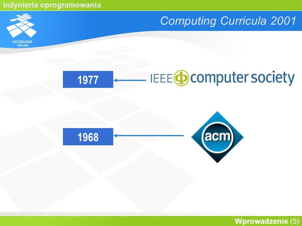 Inżynieria oprogramowania Wprowadzenie (6) Computing Curricula 2001