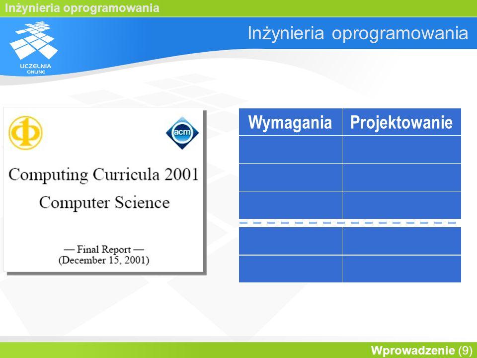 Inżynieria oprogramowania Wprowadzenie (30) Cykl życia WymaganiaProjektWykonanie