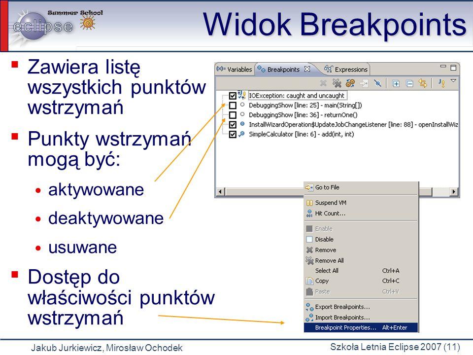 Jakub Jurkiewicz, Mirosław Ochodek Szkoła Letnia Eclipse 2007 (11) Widok Breakpoints Zawiera listę wszystkich punktów wstrzymań Punkty wstrzymań mogą być: aktywowane deaktywowane usuwane Dostęp do właściwości punktów wstrzymań