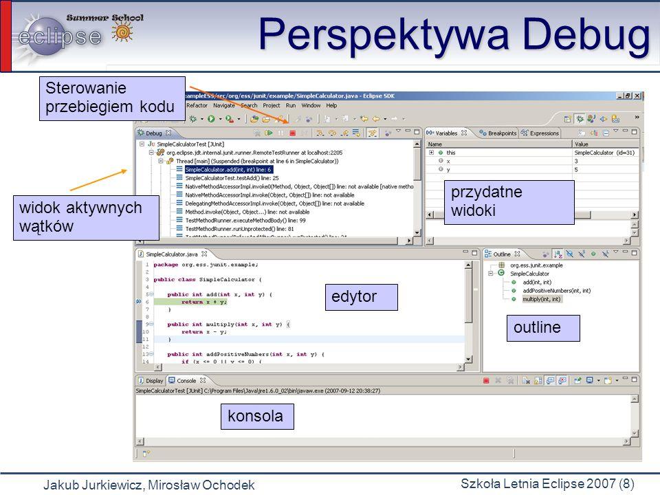 Jakub Jurkiewicz, Mirosław Ochodek Szkoła Letnia Eclipse 2007 (8) Perspektywa Debug widok aktywnych wątków konsola edytor przydatne widoki outline Sterowanie przebiegiem kodu