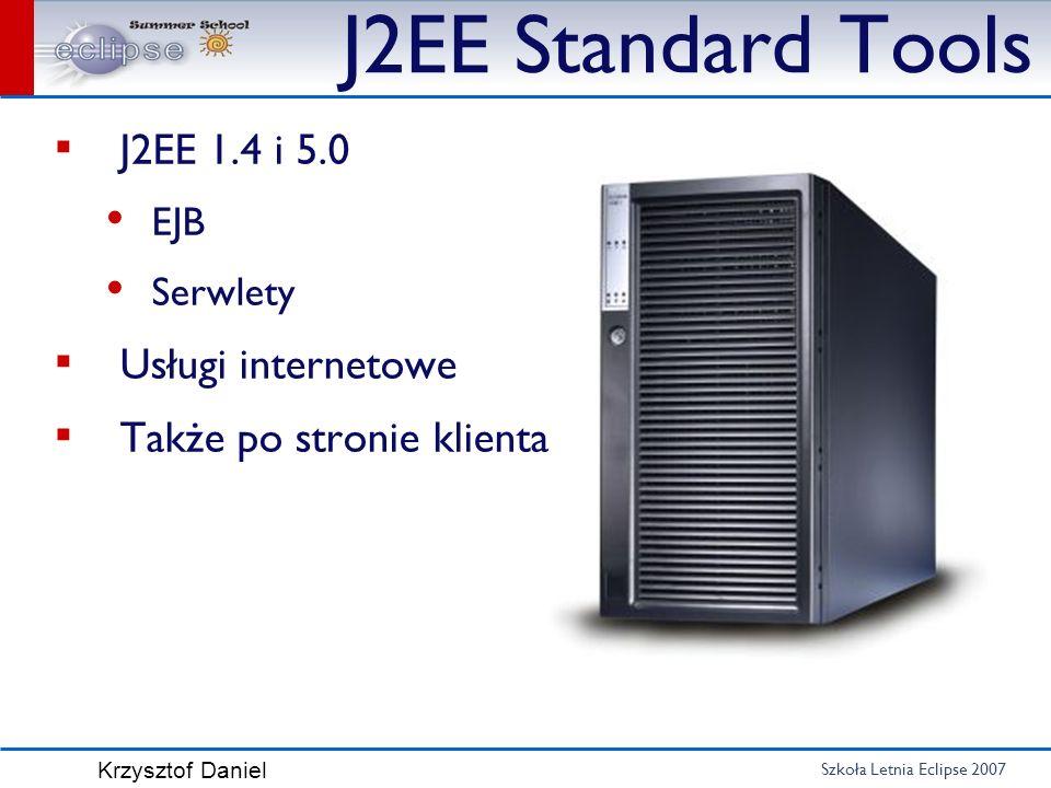 Szkoła Letnia Eclipse 2007 Krzysztof Daniel J2EE Standard Tools J2EE 1.4 i 5.0 EJB Serwlety Usługi internetowe Także po stronie klienta