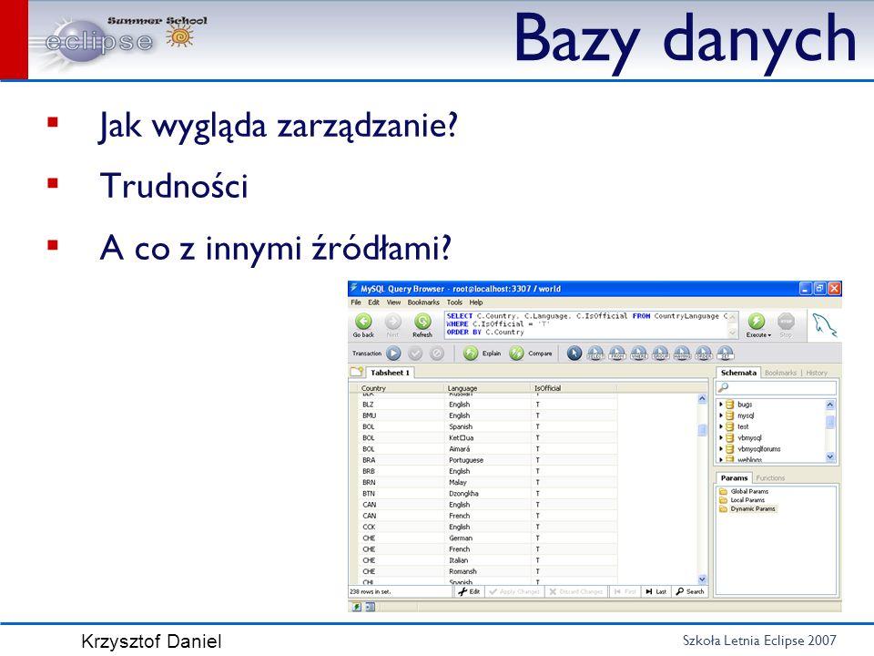 Szkoła Letnia Eclipse 2007 Krzysztof Daniel Bazy danych Jak wygląda zarządzanie? Trudności A co z innymi źródłami?