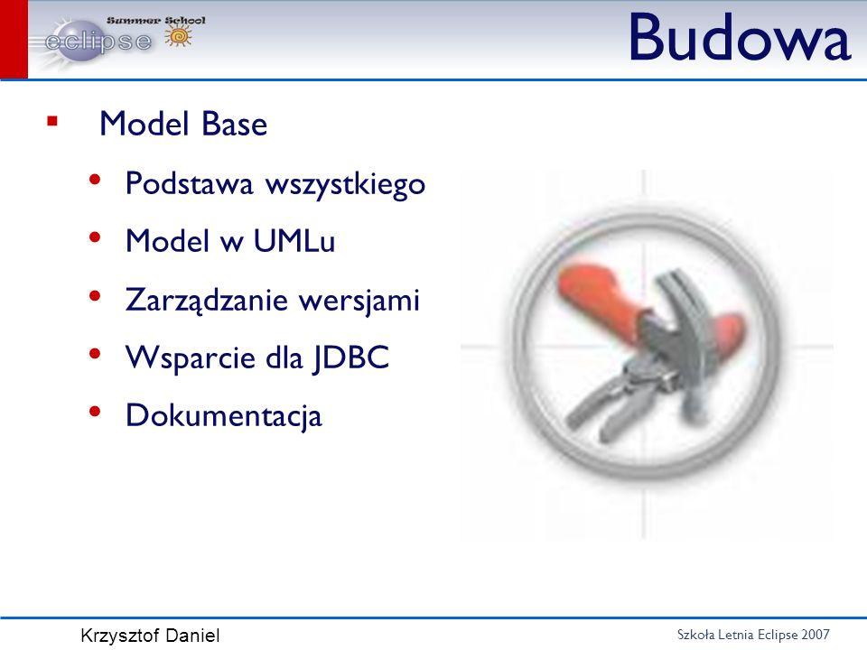 Szkoła Letnia Eclipse 2007 Krzysztof Daniel Budowa Model Base Podstawa wszystkiego Model w UMLu Zarządzanie wersjami Wsparcie dla JDBC Dokumentacja