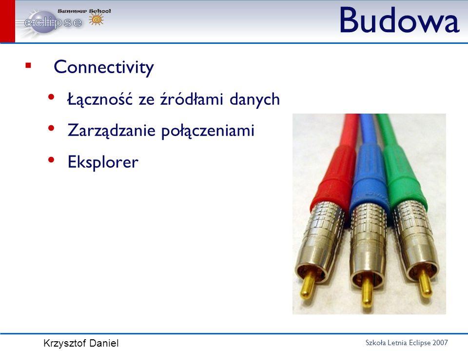 Szkoła Letnia Eclipse 2007 Krzysztof Daniel Budowa Connectivity Łączność ze źródłami danych Zarządzanie połączeniami Eksplorer