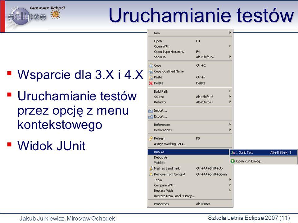 Jakub Jurkiewicz, Mirosław Ochodek Szkoła Letnia Eclipse 2007 (11) Uruchamianie testów Wsparcie dla 3.X i 4.X Uruchamianie testów przez opcję z menu k