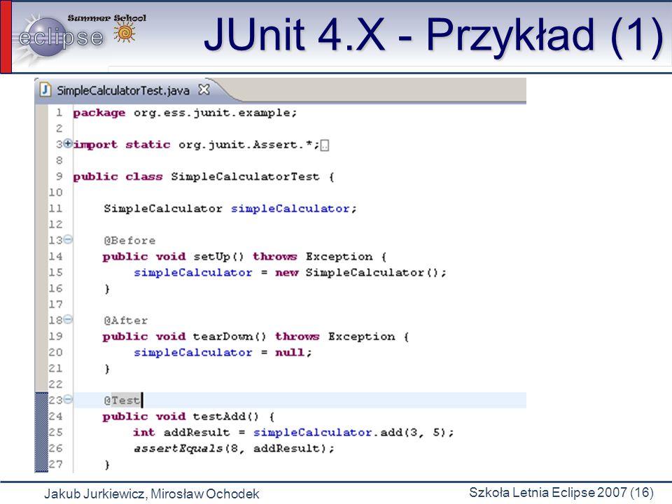 Jakub Jurkiewicz, Mirosław Ochodek Szkoła Letnia Eclipse 2007 (16) JUnit 4.X - Przykład (1)