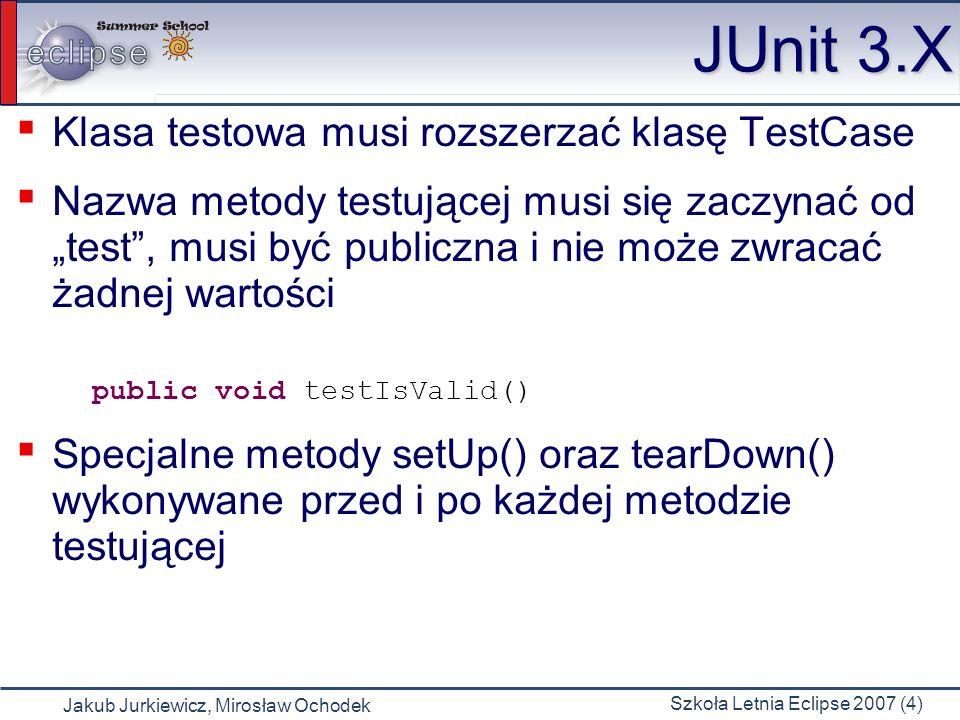 Jakub Jurkiewicz, Mirosław Ochodek Szkoła Letnia Eclipse 2007 (15) JUnit 4.X (3) Dodatkowe możliwości: Annotacja @Test może być sparametryzowana przez nazwę wyjątku jakiego spodziewamy się z testowanej metody Annotacja @Ignore pozwala zignorować daną metodę testującą Jako parametr dla annotacji @Test możemy podać czas (w mikrosekundach) opóźnienia uruchomienia danej metody testowej