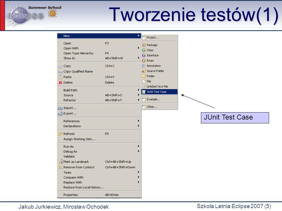 Jakub Jurkiewicz, Mirosław Ochodek Szkoła Letnia Eclipse 2007 (5) Tworzenie testów(1) JUnit Test Case