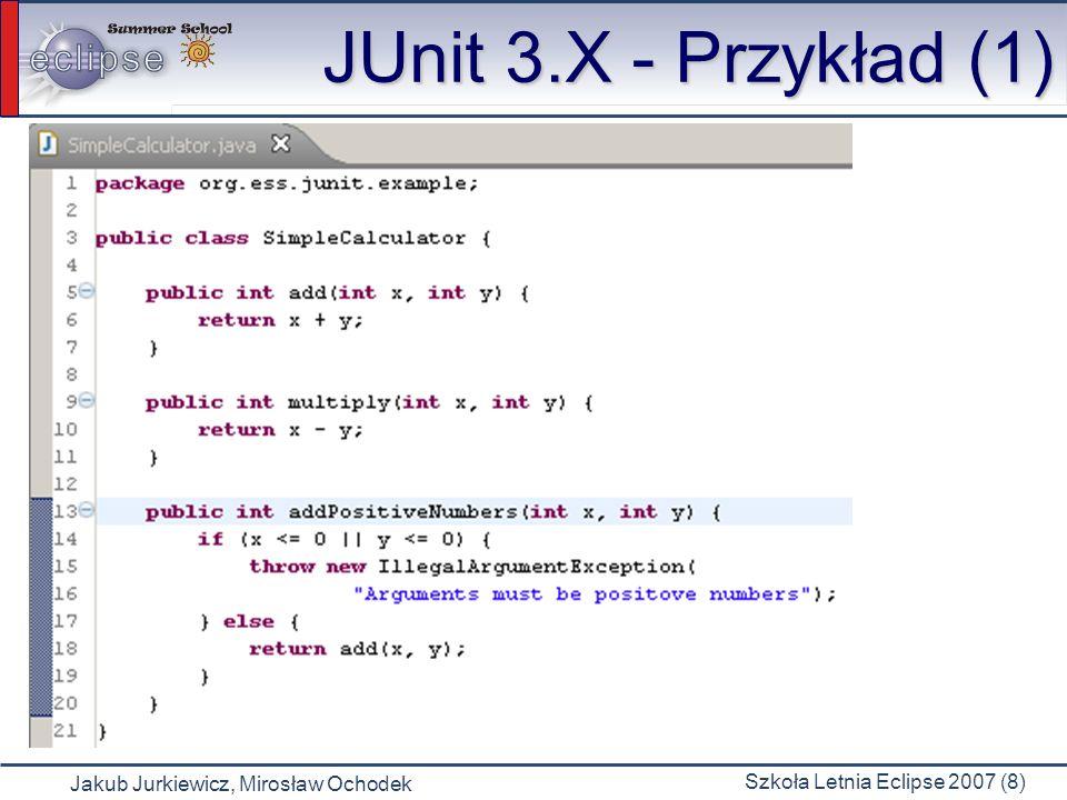 Jakub Jurkiewicz, Mirosław Ochodek Szkoła Letnia Eclipse 2007 (9) JUnit 3.X -Przykład (2) JUnit 3.X - Przykład (2)