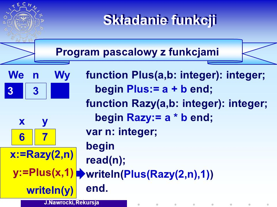 J.Nawrocki, Rekursja Składanie funkcji function Plus(a,b: integer): integer; begin Plus:= a + b end; function Razy(a,b: integer): integer; begin Razy:= a * b end; var n: integer; begin read(n); writeln(Plus(Razy(2,n),1)) end.