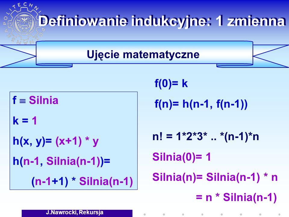 J.Nawrocki, Rekursja Definiowanie indukcyjne: 1 zmienna n.