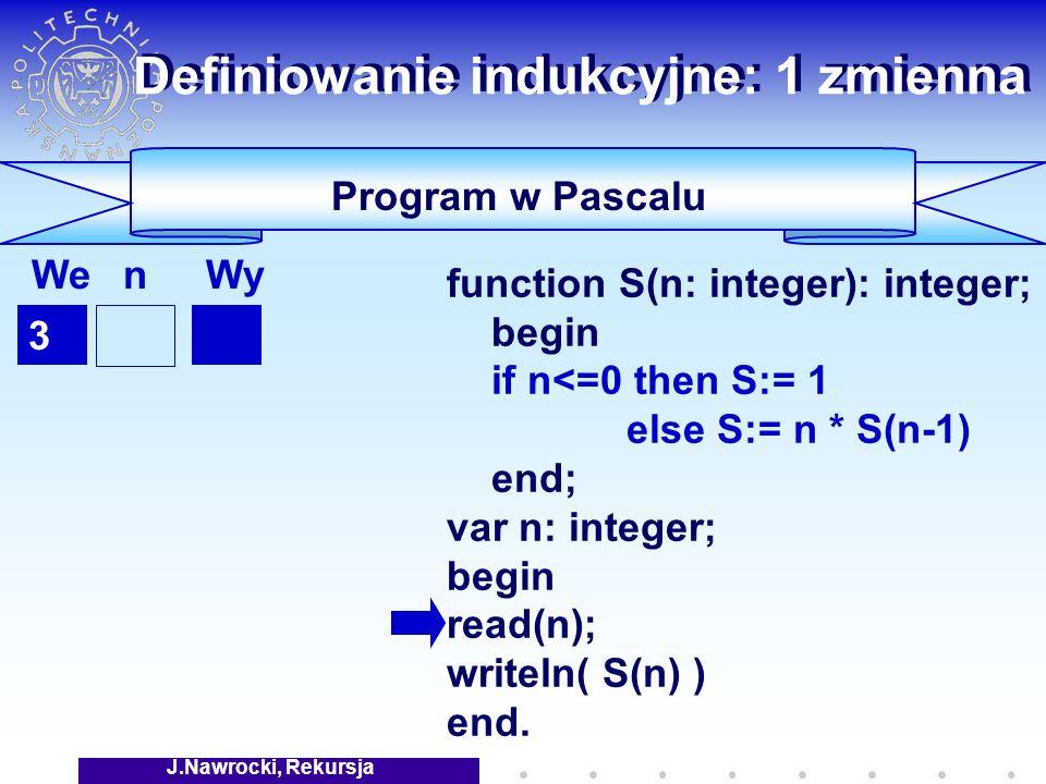 J.Nawrocki, Rekursja Definiowanie indukcyjne: 1 zmienna Program w Pascalu function S(n: integer): integer; begin if n<=0 then S:= 1 else S:= n * S(n-1) end; var n: integer; begin read(n); writeln( S(n) ) end.