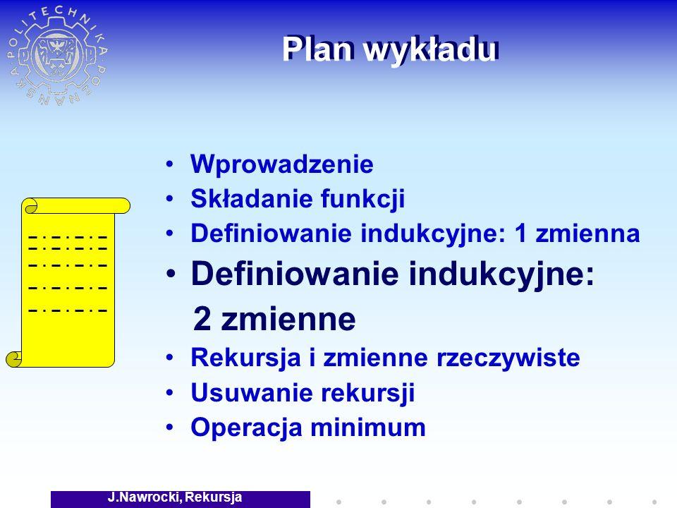 J.Nawrocki, Rekursja Plan wykładu Wprowadzenie Składanie funkcji Definiowanie indukcyjne: 1 zmienna Definiowanie indukcyjne: 2 zmienne Rekursja i zmienne rzeczywiste Usuwanie rekursji Operacja minimum