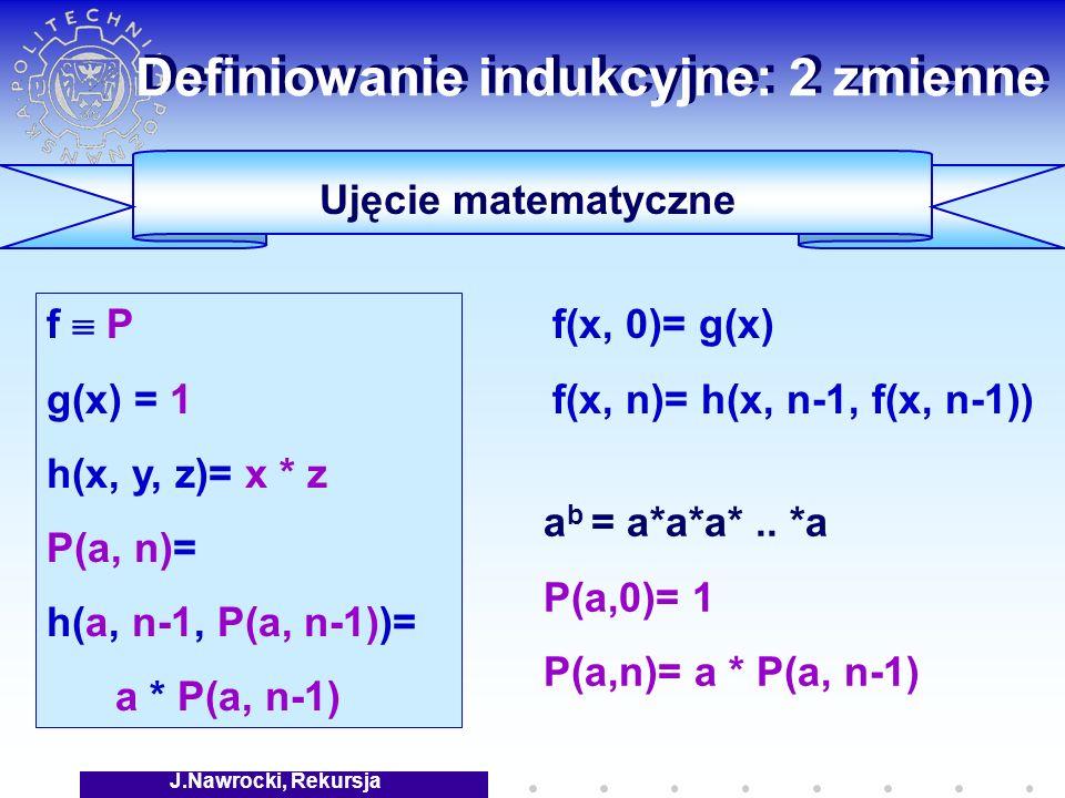 J.Nawrocki, Rekursja Definiowanie indukcyjne: 2 zmienne a b = a*a*a*..