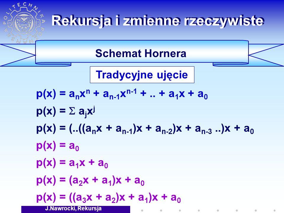 J.Nawrocki, Rekursja Rekursja i zmienne rzeczywiste Schemat Hornera p(x) = a n x n + a n-1 x n-1 +..