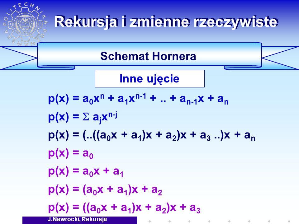 J.Nawrocki, Rekursja Rekursja i zmienne rzeczywiste Schemat Hornera p(x) = a 0 x n + a 1 x n-1 +..