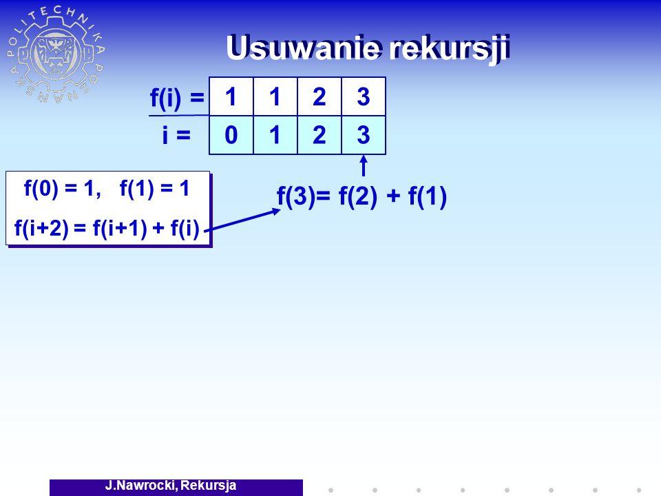 J.Nawrocki, Rekursja Usuwanie rekursji f(0) = 1, f(1) = 1 f(i+2) = f(i+1) + f(i) f(0) = 1, f(1) = 1 f(i+2) = f(i+1) + f(i) 1 0 1 1 f(i) = i = 2 2 3 3 f(3)= f(2) + f(1)