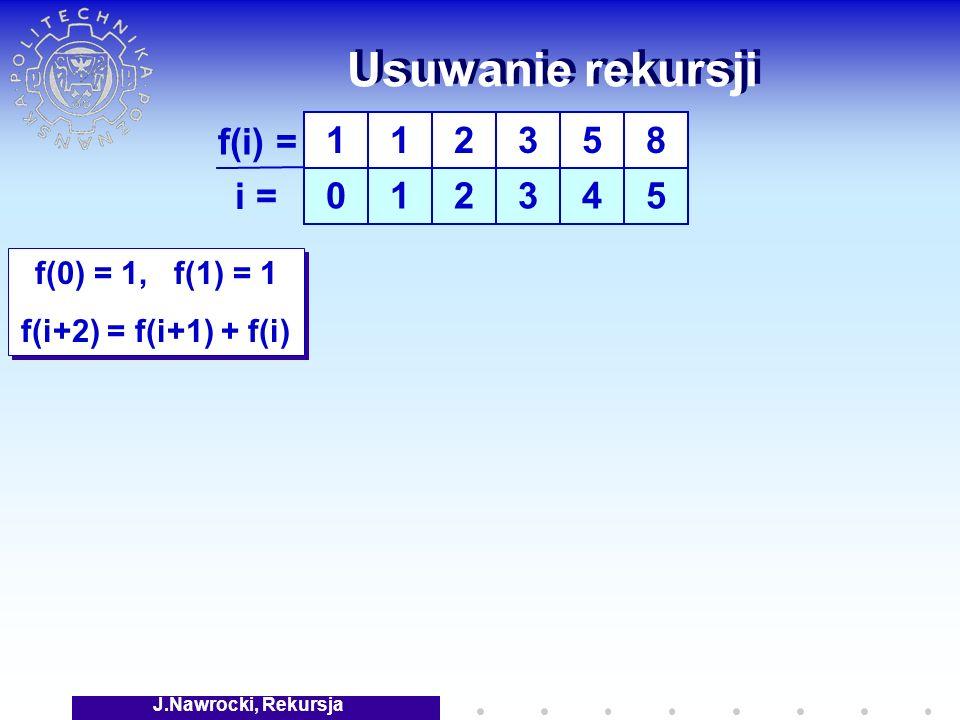 J.Nawrocki, Rekursja Usuwanie rekursji f(0) = 1, f(1) = 1 f(i+2) = f(i+1) + f(i) f(0) = 1, f(1) = 1 f(i+2) = f(i+1) + f(i) 1 0 1 1 f(i) = i = 2 2 3 3 5 4 8 5