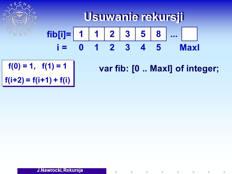 J.Nawrocki, Rekursja Usuwanie rekursji f(0) = 1, f(1) = 1 f(i+2) = f(i+1) + f(i) f(0) = 1, f(1) = 1 f(i+2) = f(i+1) + f(i) fib[i]= i = 1 0 1 1 2 2 3 3 5 4 8 5 var fib: [0..