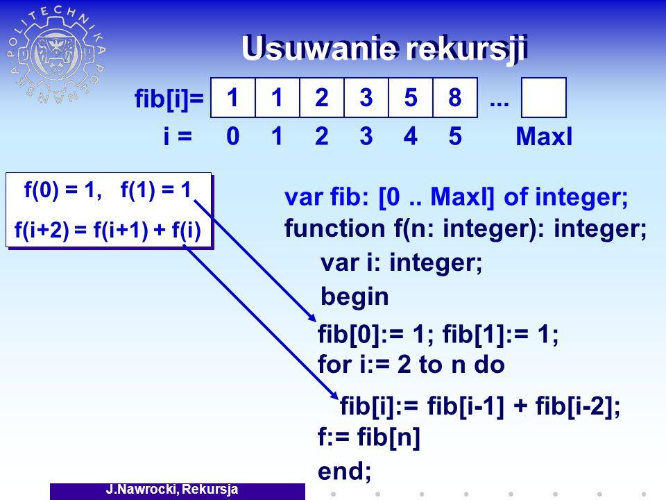 J.Nawrocki, Rekursja Usuwanie rekursji f(0) = 1, f(1) = 1 f(i+2) = f(i+1) + f(i) f(0) = 1, f(1) = 1 f(i+2) = f(i+1) + f(i) fib[i]= i = 1 0 1 1 2 2 3 3 5 4 8 5 fib[0]:= 1; fib[1]:= 1; fib[i]:= fib[i-1] + fib[i-2]; var fib: [0..