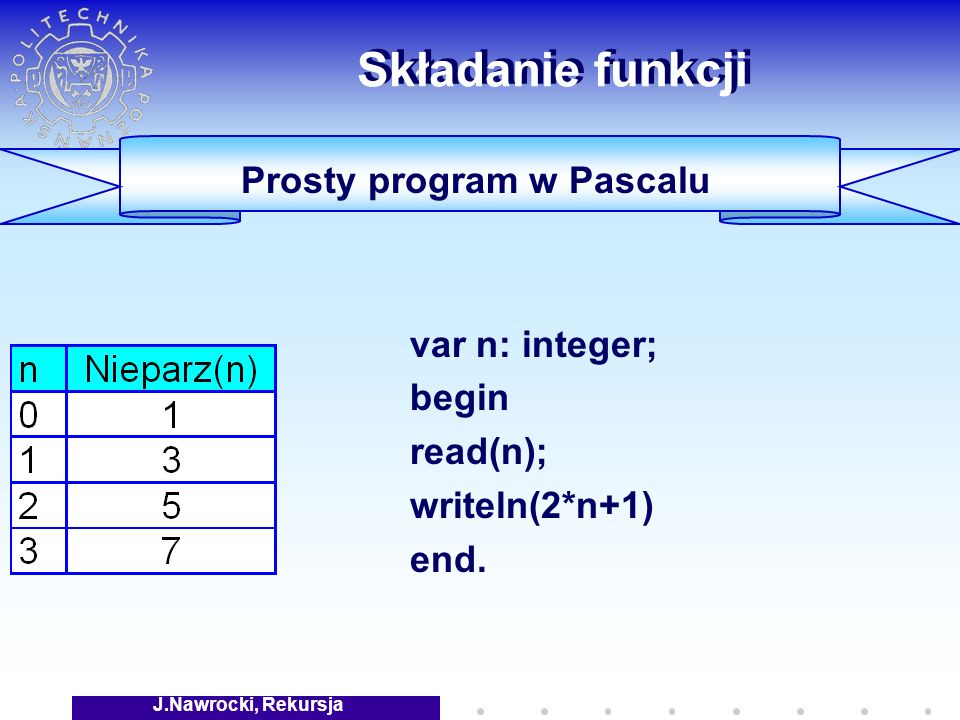 J.Nawrocki, Rekursja Składanie funkcji var n: integer; begin read(n); writeln(2*n+1) end.