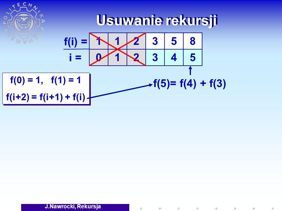 J.Nawrocki, Rekursja Usuwanie rekursji f(0) = 1, f(1) = 1 f(i+2) = f(i+1) + f(i) f(0) = 1, f(1) = 1 f(i+2) = f(i+1) + f(i) 1 0 1 1 f(i) = i = 2 2 3 3 5 4 8 5 f(5)= f(4) + f(3)