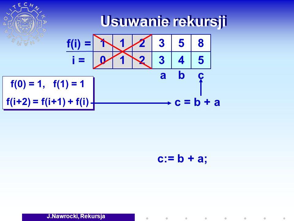J.Nawrocki, Rekursja Usuwanie rekursji f(0) = 1, f(1) = 1 f(i+2) = f(i+1) + f(i) f(0) = 1, f(1) = 1 f(i+2) = f(i+1) + f(i) 1 0 1 1 f(i) = i = 2 2 3 3 5 4 8 5 cab c:= b + a; c = b + a