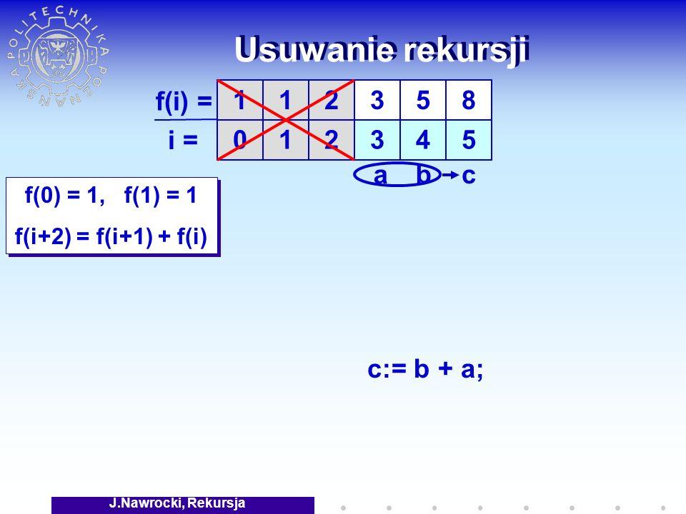 J.Nawrocki, Rekursja Usuwanie rekursji f(0) = 1, f(1) = 1 f(i+2) = f(i+1) + f(i) f(0) = 1, f(1) = 1 f(i+2) = f(i+1) + f(i) 1 0 1 1 f(i) = i = 2 2 3 3 5 4 8 5 cab c:= b + a;